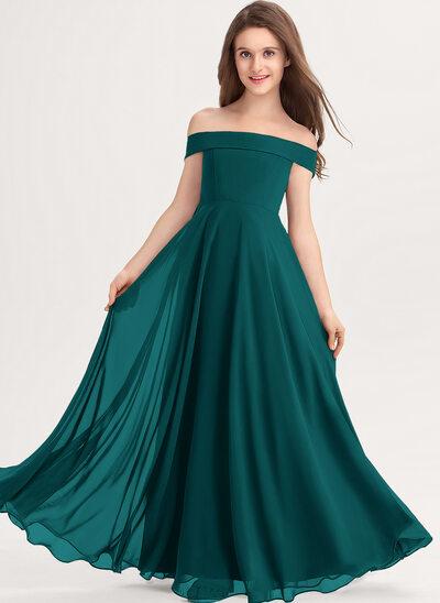 Corte A Off-the-ombro Longos Tecido de seda Vestido de daminha júnior
