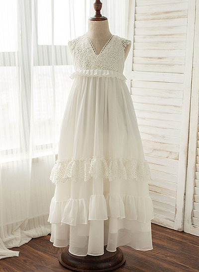 A-Line/Princess Floor-length Flower Girl Dress - Chiffon Sleeveless V-neck With Lace