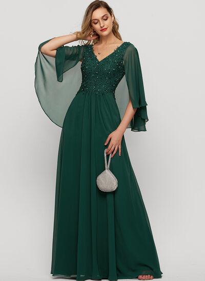Corte A Decote V Longos Tecido de seda Vestido de festa com Beading lantejoulas