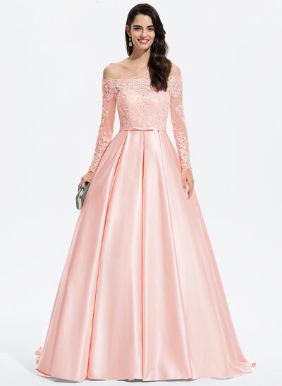 Balo Elbisesi/Prenses Off-Omuz Kuyruklu Saten Mezuniyet Elbisesi Ile Yaylar)
