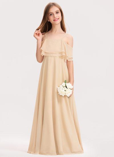 A-Linie Off-the-Schulter Bodenlang Chiffon Kleid für junge Brautjungfern mit Gestufte Rüschen