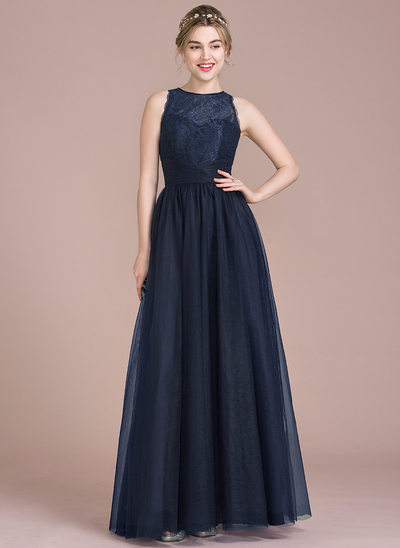 A-Line/Princess Scoop Neck Floor-Length Tulle Lace Bridesmaid Dress With Ruffle