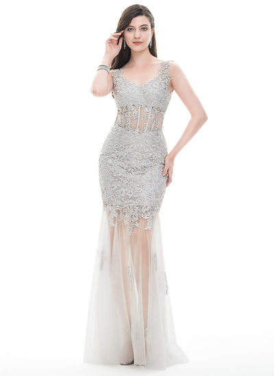 Sheath/Column V-neck Floor-Length Tulle Prom Dress