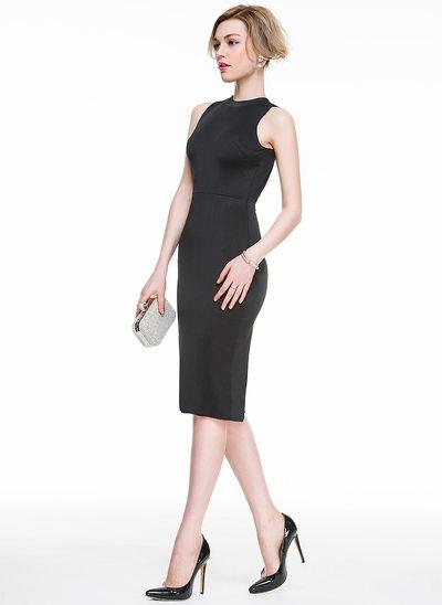 Jacka Rund-urringning Knälång Jersey Cocktailklänning med Slits Fram