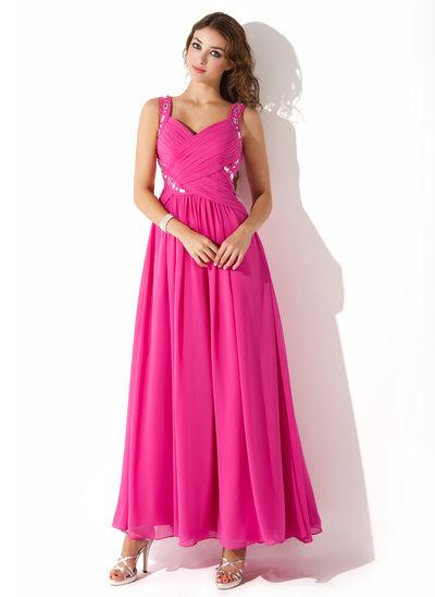 Vestidos princesa/ Formato A Amada Longuete Tecido de seda Vestido de baile com Pregueado Beading
