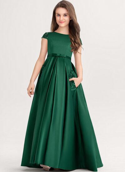 Duchesse-Linie/Princess U-Ausschnitt Bodenlang Satin Spitze Kleider für junge Brautjungfern mit Schleife(n) Taschen