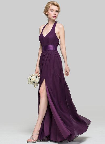 Vestidos princesa/ Formato A Decote V Longos Tecido de seda Vestido de madrinha com Pregueado Curvado Frente aberta
