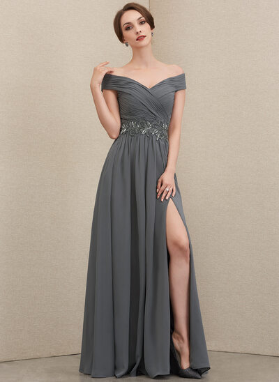 A-Line Off-the-Shoulder Floor-Length Chiffon Evening Dress With Ruffle Beading Sequins Split Front