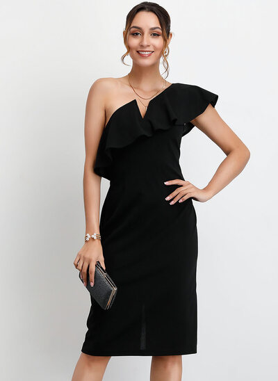 Sheath/Column One-Shoulder Knee-Length Homecoming Dress