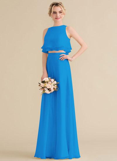 A-Line/Princess Scoop Neck Floor-Length Chiffon Bridesmaid Dress With Cascading Ruffles