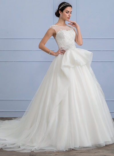 Ball-Gown Scoop Neck Chapel Train Tulle Wedding Dress With Appliques Lace Flower(s) Bow(s) Cascading Ruffles