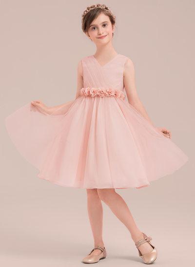 Vestidos princesa/ Formato A Coquetel Vestidos de Menina das Flores - Tule Sem magas Decote V com fecho de correr