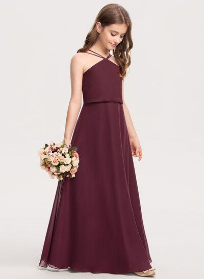A-Line V-neck Floor-Length Chiffon Junior Bridesmaid Dress