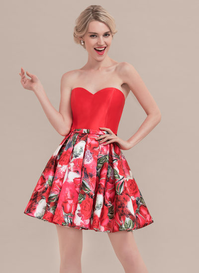 A-Line/Princess Sweetheart Short/Mini Satin Cocktail Dress