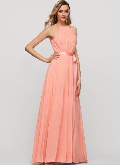 A-Line/Princess Scoop Neck Floor-Length Chiffon Evening Dress With Bow(s) Pleated