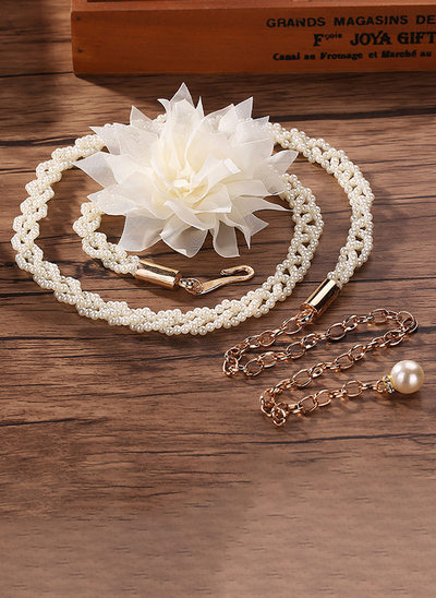 Elegant Alloy Sash With Flower/Imitation Pearls