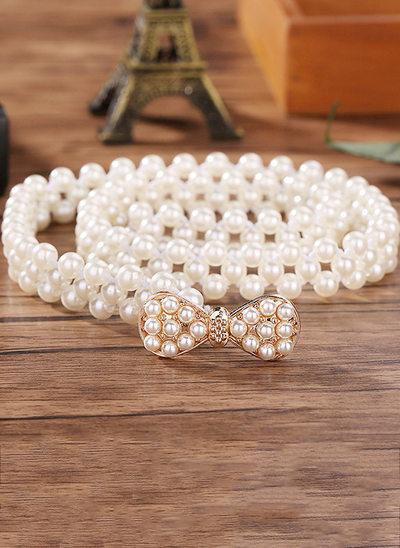 Elegant Imitation Pearls Belt With Rhinestones