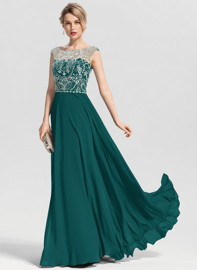 A-Line/Princess Scoop Neck Floor-Length Chiffon Prom Dresses With Beading Sequins