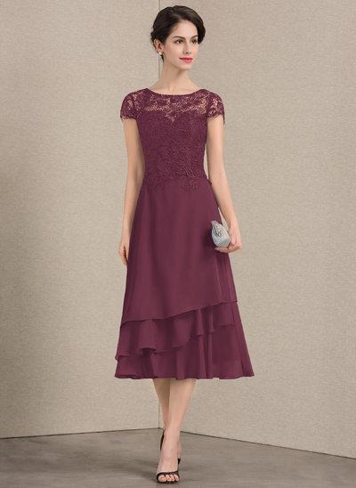 A-Line/Princess Scoop Neck Tea-Length Chiffon Lace Mother of the Bride Dress