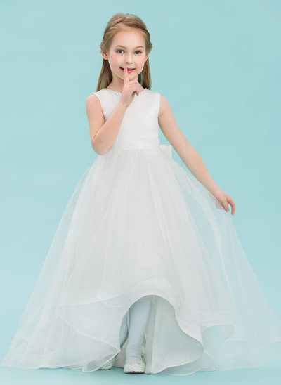 A-Line/Princess Asymmetrical Flower Girl Dress - Satin/Tulle Sleeveless Scoop Neck With Beading/Bow(s)
