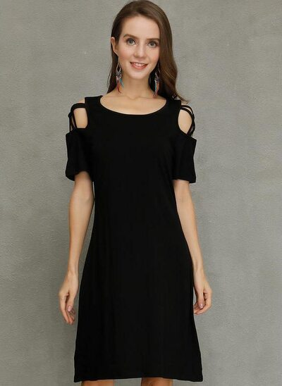 A-Line Scoop Neck Knee-Length Polyester Cocktail Dress