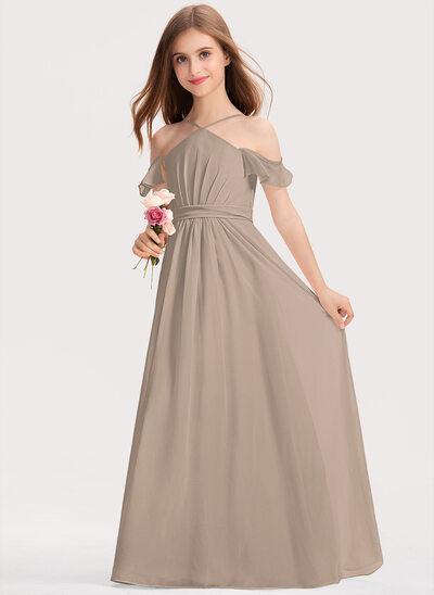 Трапеция V-образный Длина до пола шифон Платье Юнных Подружек Невесты с Рябь Бант(ы)