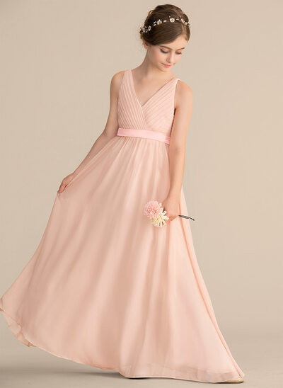 A-Line/Princess V-neck Floor-Length Chiffon Junior Bridesmaid Dress With Ruffle Bow(s)