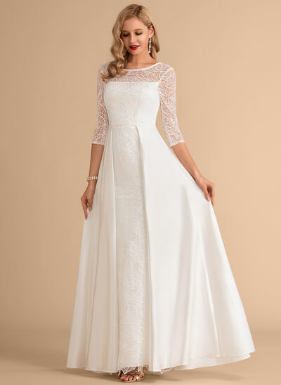 A-Line Scoop Neck Floor-Length Satin Wedding Dress With Lace