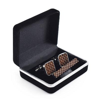 Klasyczny Zabytkowe Drewno Spinki do mankietów krawat Klip