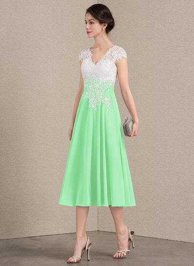Трапеция/Принцесса V-образный Длина ниже колен шифон Кружева Платье Для Матери Невесты