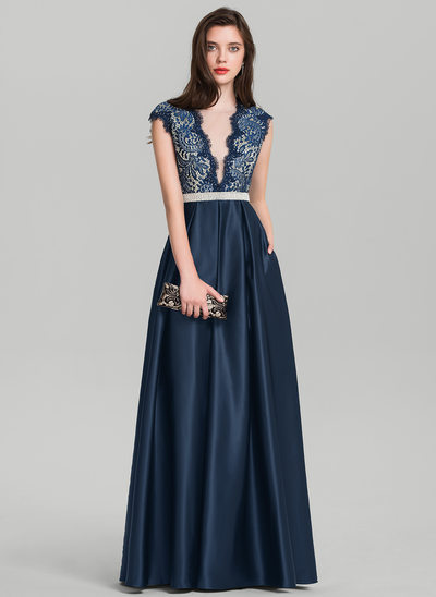 A-Line/Princess V-neck Floor-Length Satin Prom Dress With Beading Sequins