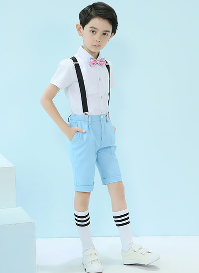 Boys 4 Pieces Cute Ring Bearer Suits /Page Boy Suits With Shirt Bow Tie Suspender Shorts