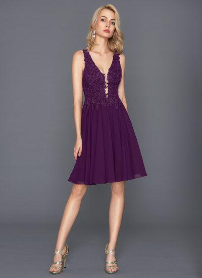 Çan/Prenses V yaka Diz Hizası Şifon Kokteyl Elbisesi