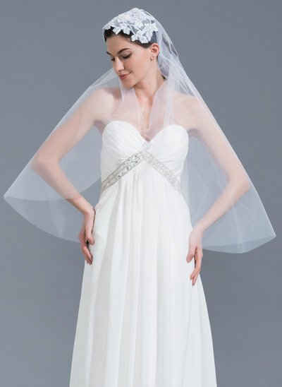 One-tier Cut Edge Fingertip Bridal Veils With Applique/Beading