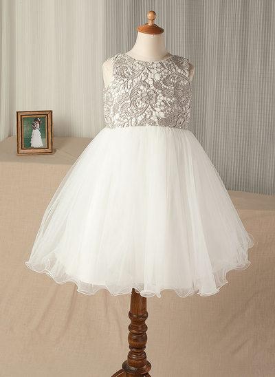 Vestidos princesa/ Formato A Coquetel Vestidos de Menina das Flores - Tule/Renda Sem magas Decote redondo