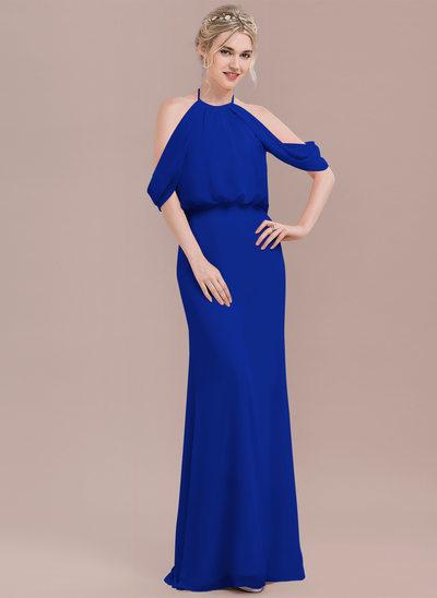 Denizkızı Yuvarlak Yaka Uzun Etekli Şifon Mezuniyet Elbisesi Ile Büzgü