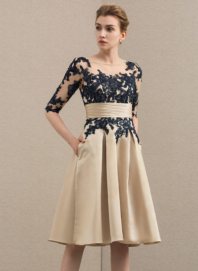 A-Line/Princess Scoop Neck Knee-Length Satin Lace Mother of the Bride Dress With Pockets