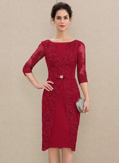 Etui-Linie U-Ausschnitt Knielang Satin Spitze Kleid für die Brautmutter mit Perlstickerei Schleife(n)