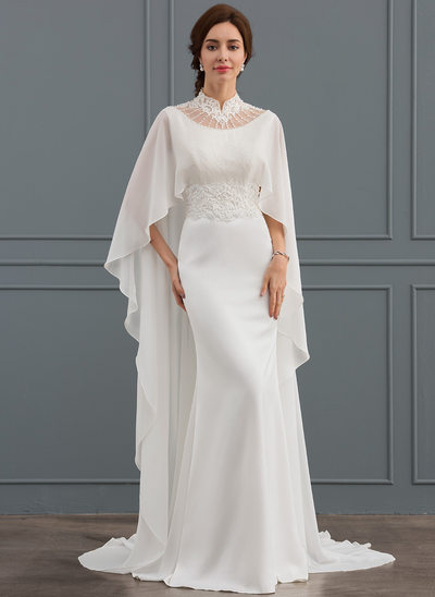 Trumpet/Mermaid High Neck Court Train Satin Wedding Dress With Beading Sequins