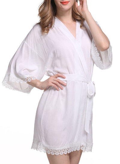 Bride Bridesmaid Cotton With Short Satin & Lace Robes