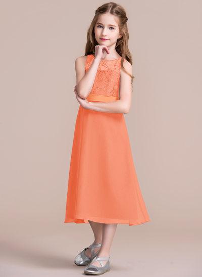 Vestidos princesa/ Formato A Decote redondo Comprimento médio Tecido de seda Vestido de daminha júnior