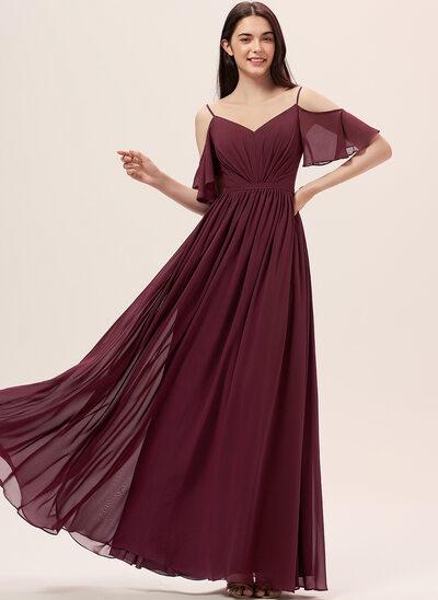 Çan Off-Omuz Uzun Etekli Şifon Nedime Elbisesi Ile Büzgü
