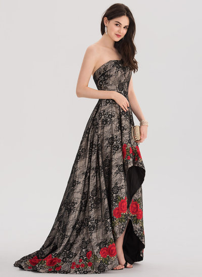 Ball-Gown Strapless Asymmetrical Sweep Train Lace Evening Dress With Lace