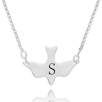 Custom Sterling Silver Engraving/Engraved Animal Initial Necklace - Birthday Gifts Mother's Day Gifts