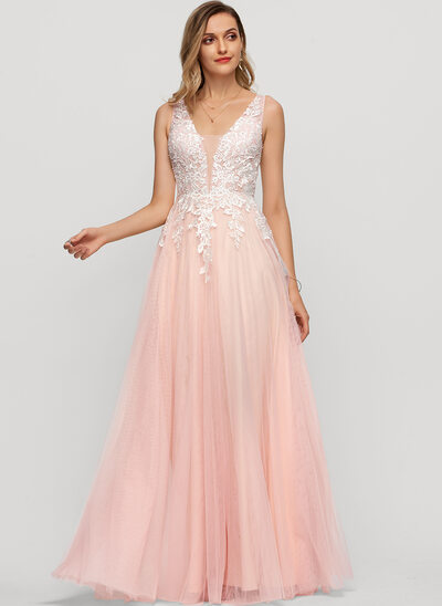 A-Line V-neck Floor-Length Tulle Evening Dress