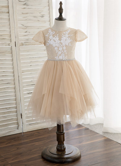 A-Line/Princess Knee-length Flower Girl Dress - Tulle/Lace Sleeveless Scoop Neck With Sequins