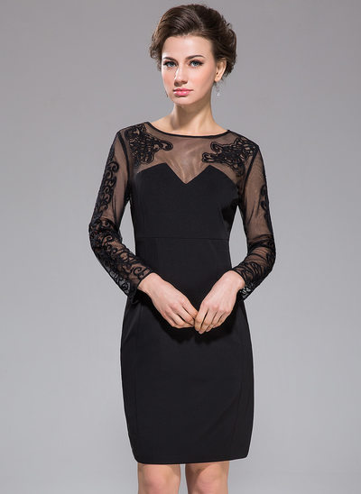 Sheath/Column Scoop Neck Knee-Length Tulle Jersey Cocktail Dress With Lace