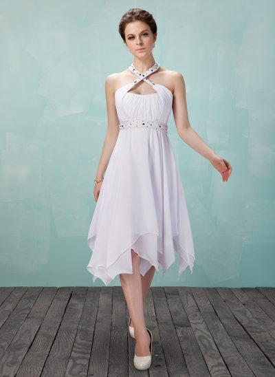 A-Line/Princess Halter Knee-Length Chiffon Homecoming Dress With Ruffle Beading