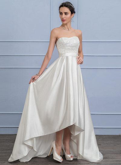 A-formet/Prinsesse kjæreste Asymmetrisk Satin Blonder Brudekjole