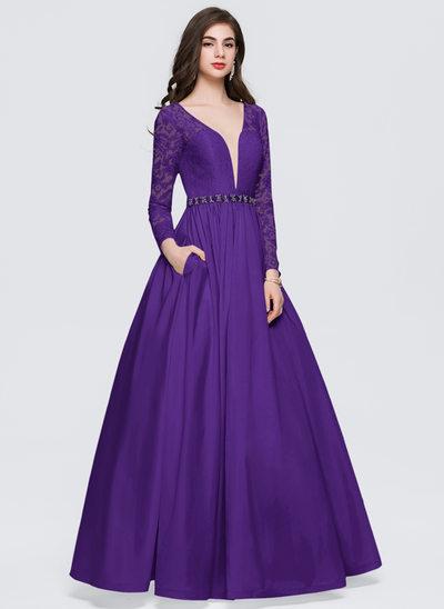 Ball-Gown V-neck Floor-Length Taffeta Prom Dresses With Beading Pockets